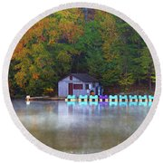 Paddle Boats On The Lake Round Beach Towel