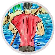Paddle In Paradise Round Beach Towel