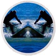 Paddleboarding X 2 Round Beach Towel