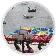 Paddleboats Waiting In The Inner Harbor At Baltimore Round Beach Towel
