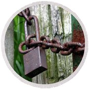 Padlocked Gate Round Beach Towel