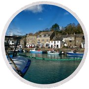 Padstow Harbour  Round Beach Towel