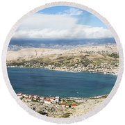 Pag Old Town In Croatia Round Beach Towel