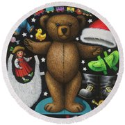 Page 1 Of 2 Teddy Bear Santa Claus Paper Doll Round Beach Towel