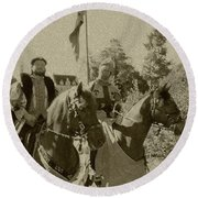 Pageantry In Sepia Round Beach Towel
