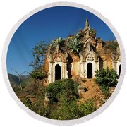 Pagoda In Ruins Round Beach Towel
