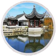 Pagoda In The Pool Round Beach Towel