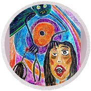 Pain Monster Round Beach Towel