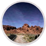 Paint Mixed Valley Of Fire Landscape  Round Beach Towel