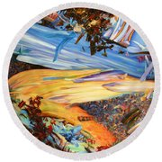 Paint Number 38 Round Beach Towel by James W Johnson