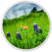 Paintbrush And Bonnets Square Round Beach Towel
