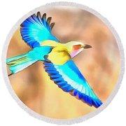 Painted Birds In Skyline Round Beach Towel