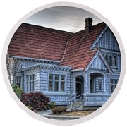 Painted Blue House Round Beach Towel