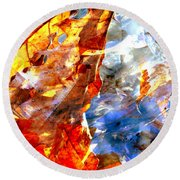 Painted Branches Abstract 1 Round Beach Towel