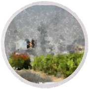 Painted Bushes Round Beach Towel