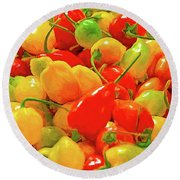 Painted Chilies Round Beach Towel