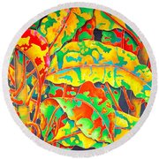 painted Crotons Round Beach Towel