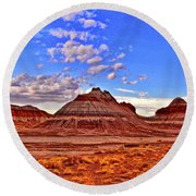 Painted Desert Colorful Mounds 003 Round Beach Towel