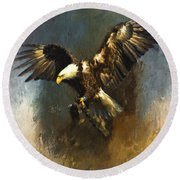 Painted Eagle Round Beach Towel