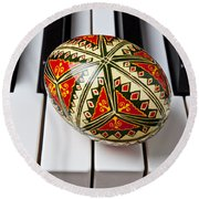 Painted Easter Egg On Piano Keys Round Beach Towel