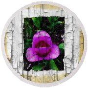 Painted Flower With Peeling Effect Round Beach Towel