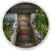 Painted Garden Door Round Beach Towel