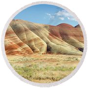 Painted Hills Pano 1 Round Beach Towel