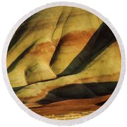 Painted In Gold Round Beach Towel