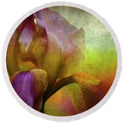 Painted Iris Round Beach Towel
