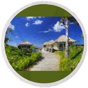 Painted Island Pathway Round Beach Towel