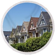 Painted Ladies Round Beach Towel