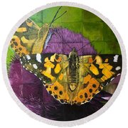 Painted Lady Butterflies Round Beach Towel