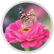 Painted Lady On Red Zinnia 3  Round Beach Towel