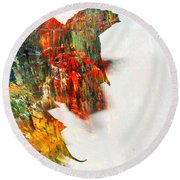 Painted Leaf Abstract 1 Round Beach Towel