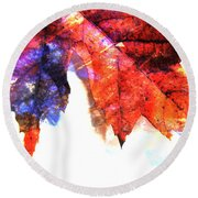 Painted Leaf Series 4 Round Beach Towel