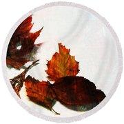 Painted Leaf Series 5 Round Beach Towel