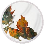 Painted Leaves Abstract 1 Round Beach Towel