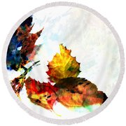 Painted Leaves Abstract 2 Round Beach Towel