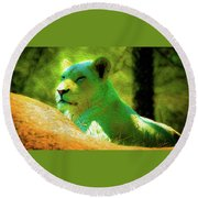Painted Lion Round Beach Towel