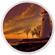 Painted Marblehead Lighthouse Round Beach Towel