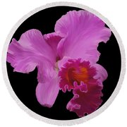 Painted Orchid Round Beach Towel