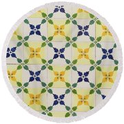 Painted Patterns - Floral Azulejo Tiles In Blue Green And Yellow Round Beach Towel