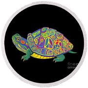 Painted Peace Turtle Too Round Beach Towel
