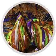 Painted Pears Round Beach Towel