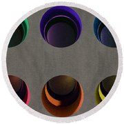 Painted Pigeon Holes Round Beach Towel