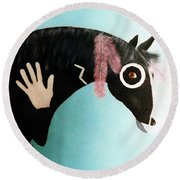 Painted Pony With Feather Round Beach Towel