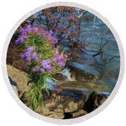 Painted River Flower Round Beach Towel