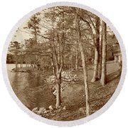Painted Shore Camps In Sepia Round Beach Towel