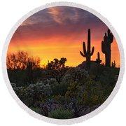 Painted Skies Of The Sonoran Desert Round Beach Towel