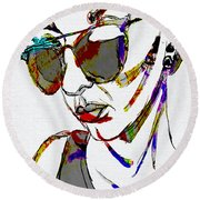 Painted Sunglasses Round Beach Towel